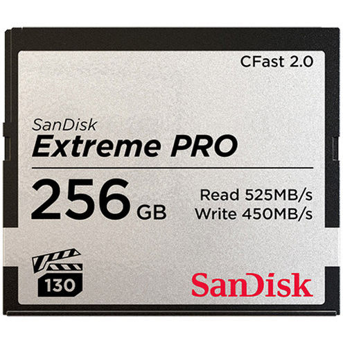 Extreme Pro 256GB Cfast 2.0 Card 525MB/s read & 450MB/s write speeds