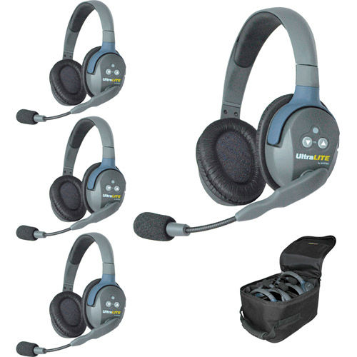 UL4D UltraLITE 4-Person Headset System w/ Batteries, Charger & Case (Double)