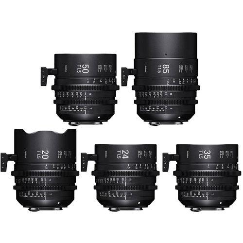 5pc Cine Prime Lens Kit (Canon EF FF) - 20/T1.5, 24/T1.5, 35/T1.5, 50/T1.5, 85/T1.5 & PMC-002 Case