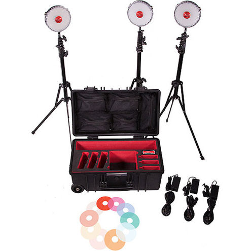 NEO II 3 LED Light Kit with Hard Roller Case, 3 x Light Stands, 3 x Pro Ball Heads