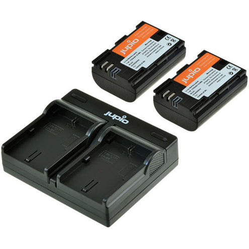 Kit: USB Dual Battery Charger and 2 x LP-E6 Batteries - 1700 mAh