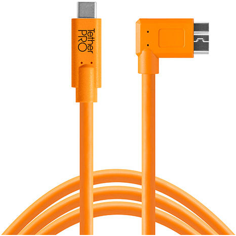 TetherPro USB-C to 3.0 Micro-B Right Angle, 15' Orange