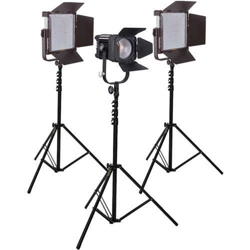 LG-600MCSII & LG-D600C Bicolour LED Panels and Fresnel 3 light Kit with Stands