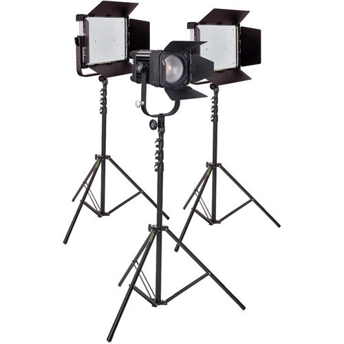 LG-1200MCSII & LG-D1200MC Bicolour LED Panels and Fresnel 3 Light Kit with Stands