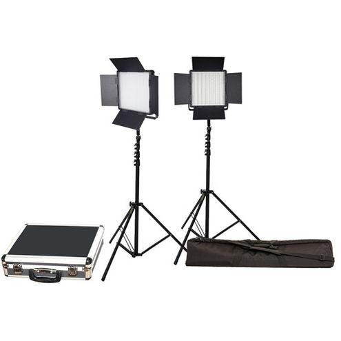 2 x LG-600SC LED Lights 5600K with 2x Mantis Light Stands, Stand Bag and Hard Case