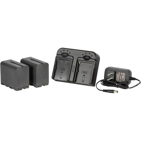 DV Battery Kit w/ 2x NP-F970 Li-ion Batteries w/ Dual Battery charger