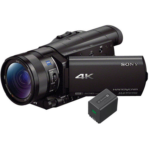 FDR-AX100B 4K HD Camcorder with Type 1.0  Exmor-R  + NP-FV70A V-series Rechargeable Battery Pack