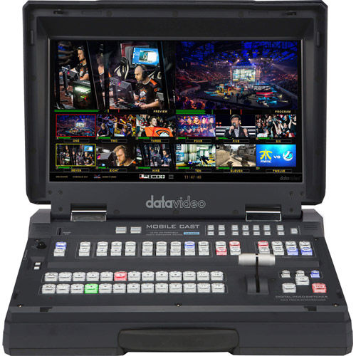 """12 input HD-SDI & HDMI hand carried mobile studio w/built-in 17.3"""" LCD monitor, H.264 streaming enc"""