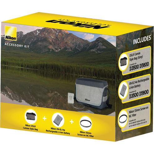 DX DSLR Accessory Bundle for D3500 & D5600 Kit (inc. Grey Canvas DSLR bag, EN-EL14a, 55mm NC)