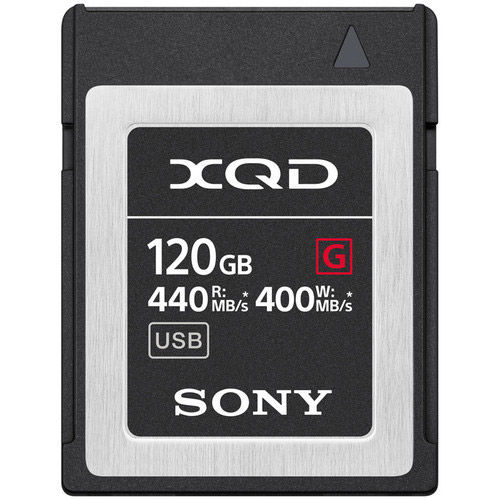 Sony QDG120F 120GB XQD G Series Memory Card, 440MB/s read & 400MB/s write speeds