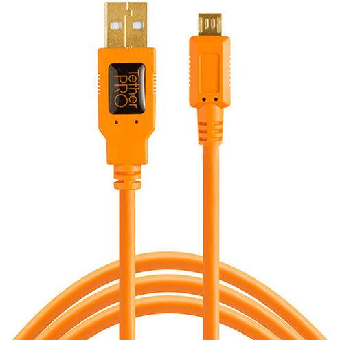 Starter Tethering Kit w/ USB 2.0 Micro-B 5 Pin Cable 15' - Orange