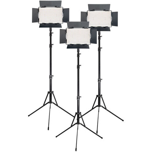 3 x LG-B560II LED Light 5600K with 3 x Stands 3 x AC Power Supply, 3 x Battery/Charger, Case