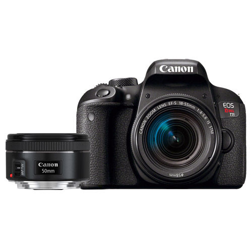 Canon EOS Rebel T7i Kit w/ EF-S 18-55mm f/4-5 6 IS STM + EF 50mm f/1 8 STM  Lens Bundle
