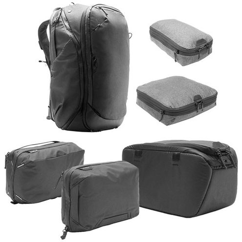 Travel Backpack 45L w/ Sm & Md Packing Cubes, Tech & Wash Pouches and Sm Camera Cube - BLACK
