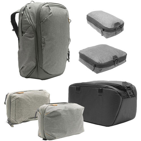Travel Backpack 45L w/ Sm & Md Packing Cubes, Tech & Wash Pouches and Sm Camera Cube - SAGE