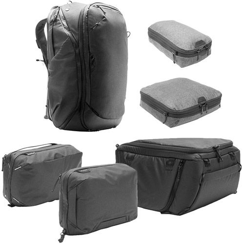Travel Backpack 45L w/ Sm & Md Packing Cubes, Tech & Wash Pouches and Md Camera Cube - BLACK