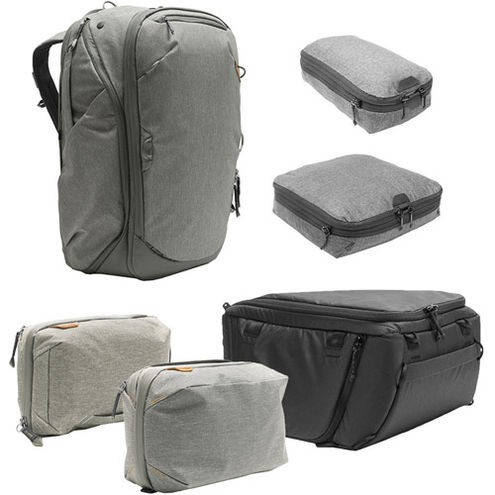 Travel Backpack 45L w/ Sm & Md Packing Cubes, Tech & Wash Pouches and Md Camera Cube - SAGE
