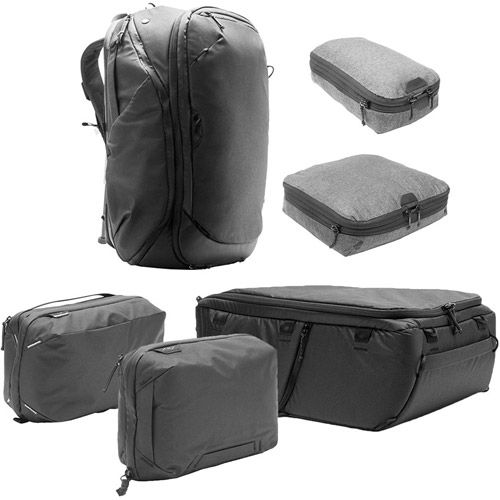 Travel Backpack 45L w/ Sm & Md Packing Cubes, Tech & Wash Pouches and Lg Camera Cube - BLACK