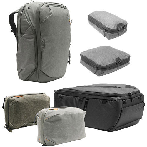 Travel Backpack 45L w/ Sm & Md Packing Cubes, Tech & Wash Pouches and Lg Camera Cube - SAGE
