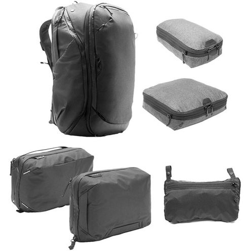 Travel Backpack 45L w/ Sm & Md Packing Cubes, Tech & Wash Pouches and Rain Fly - BLACK
