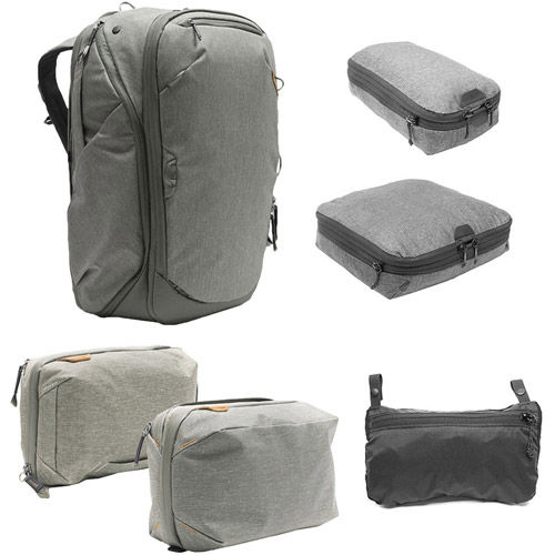 Travel Backpack 45L w/ Sm & Md Packing Cubes, Tech & Wash Pouches and Rain Fly - SAGE