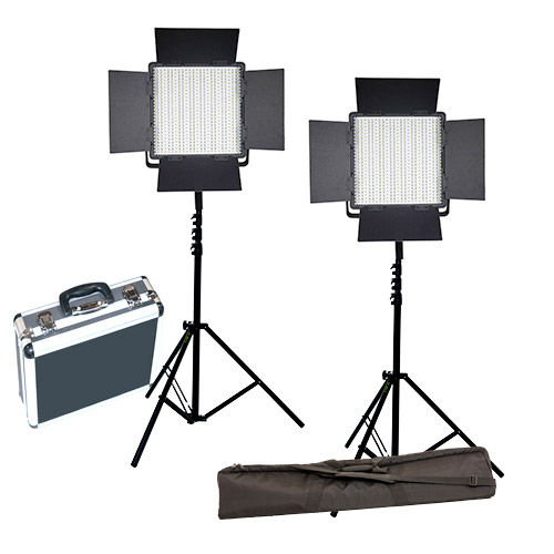 2xLG-600CSCII Bi-Color LED Panels 2 Light Kit with Stands, Stand Bag and Hard Case