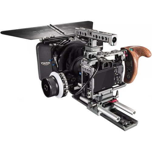 A7 Camera Cage Kit. Inc Wooden Handle with Run/Stop, Matte Box, Follow Focus, and Dovetail