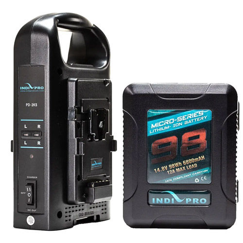 Micro-Series 98Wh Li-Ion V-Mount Battery and Dual V-Mount Battery Charger Kit