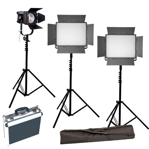 2xLG-900CSCII Bi-Color with D600C fresnel 3 x Stands, Stand Bag and Hard Case