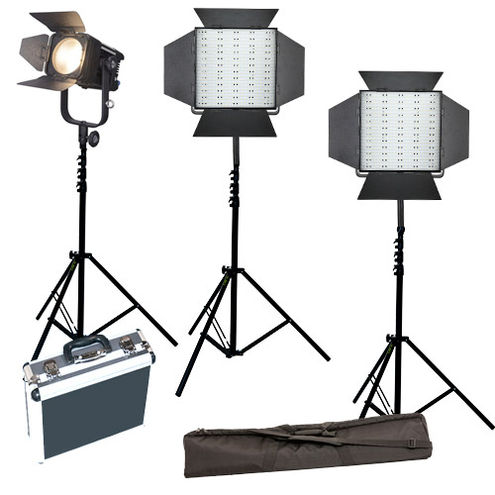 2x LG-600CS LED Lights with D300C Fresnel 3 x Light Stands, Stand Bag and Hard Case