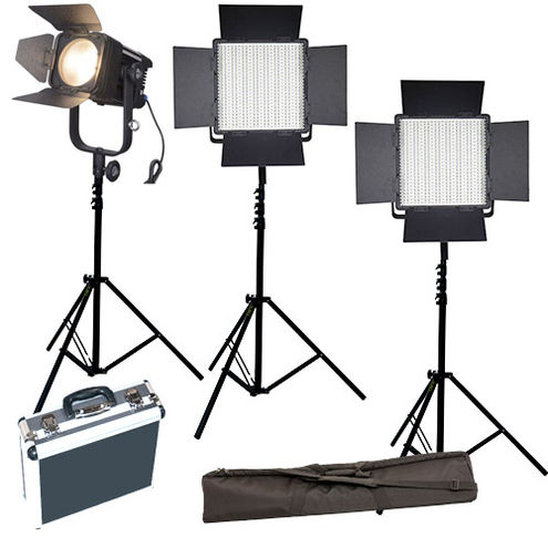 2xLG-600CSCII Bi-Color Lights with D300C Fresnel 3 x Stands, Stand Bag and Hard Case