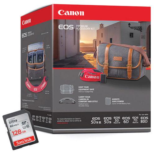 EOS Premium Acc Kit for 5D, 6D,7D,70D and 60D Includes Bag, LP-E6N, DSLR Strap, 128 GB Card
