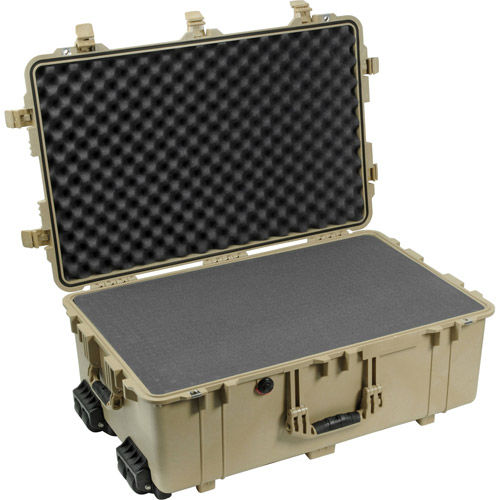 1650 Case Desert Tan with Foam, Retractable Handle and Wheels