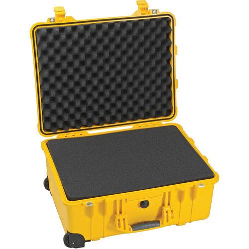 1560 Case Yellow w/Foam w/Retractable Handle & Wheels
