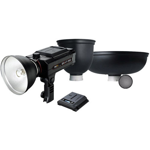 BRiHT-360 TTL With 120mm Honeycomb Grid ,Tele Reflector,Beauty Dish & Lithium-Ion Battery