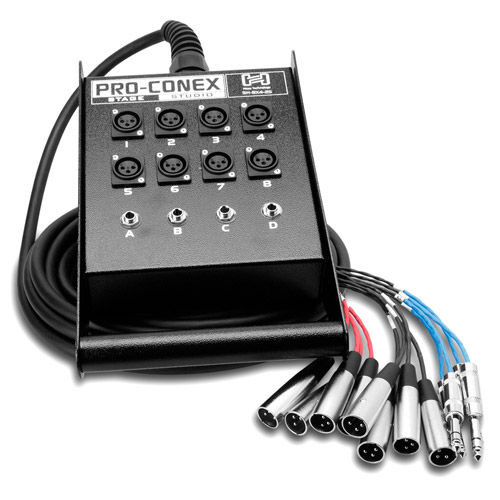 SH-8X4-25 Pro-Conex Stage Box Snake Hosa 8 x XLR Sends and 4 x 1/4 in RS Returns, 25f