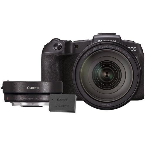 EOS RP Full Frame Mirrorless Kit w/RF 24-105 f4 L IS USM Lens With Bonus LP-E17 and EF-EOS R Adapter