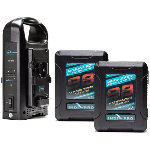 2x Micro-Series 98Wh Li-Ion V-Mount Batteries and Dual V-Mount Battery Charger Kit