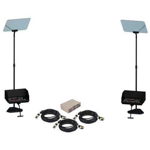 "15"" Teleprompter bundle includes two TSP15 Teleprompter, three 25' Cables a 4-port VGA Splitt"