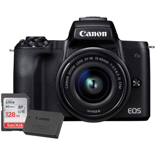 EOS M50 Mirrorless Camera w/ EF-M 15-45mm With LP-E12 Battery And 128GB Memory Card