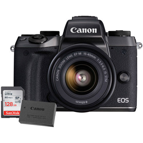 EOS M5 Mirrorless Camera with 15-45 Kit With LP-E17 Battery And 128GB Memory Card