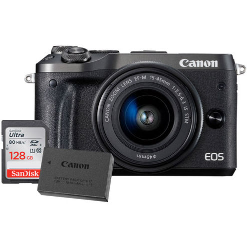 EOS M6 Mirrorless Camera Kit w/ EF-M 15-45mm f/3.5 -6.3 IS STM Black W/ LP-E17 Battery & 128GB Card