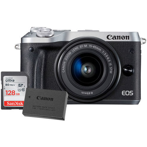 EOS M6 Mirrorless Camera Kit w/ EF-M 15-45mm -6.3 IS STM Silver W/ LP-E17 Battery & 128GB Card