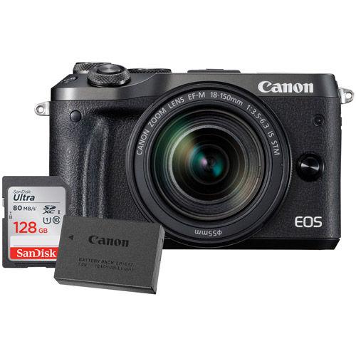 EOS M6 Mirrorless Camera Kit w/EF-M 18-150mm f/3.5 -6.3 IS STM Black W /LP-E17 Battery & 128GB Card