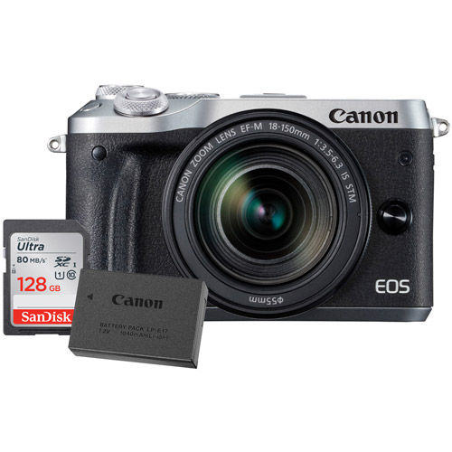 EOS M6 Mirrorless Camera Kit w/EF-M 18-150mm f/3.5 -6.3 IS STM Silver W /LP-E17 Battery & 128GB Card
