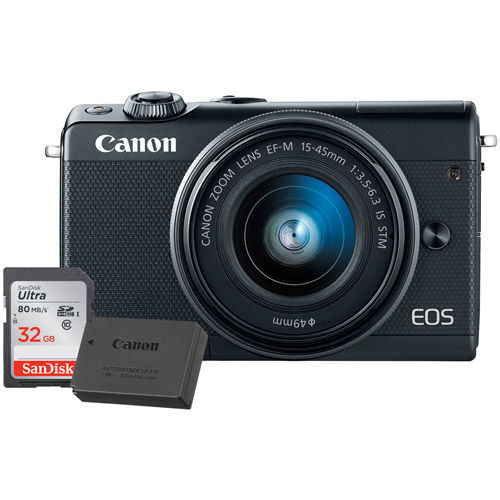 EOS M100 Mirrorless Camera with 15-45 Kit Black With LP-E12 Battery And 32GB Memory Card
