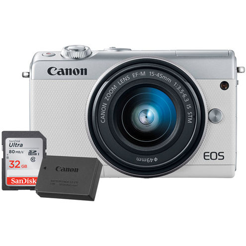 EOS M100 Mirrorless Camera with 15-45 Kit White With LP-E12 Battery And 32GB Memory Card