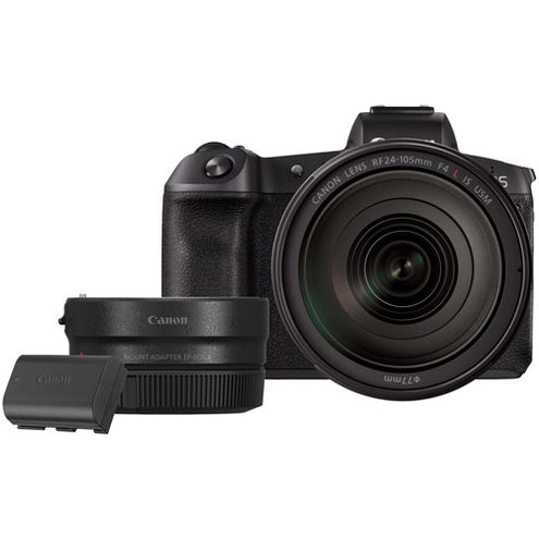 EOS R Full Frame Mirrorless Camera Body with LP-E6N and EF-EOS R Lens Mount Adapter
