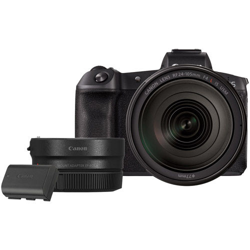 EOS R Full Frame Mirrorless Kit w/RF 24-105 f4 L IS USM Lens with LP-E6N and EF-EOS R Lens Adapter