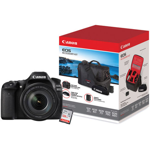 EOS 80D with  EF-S18-135mm f/3.5-5.6 IS USM Lens with EOS Accessory Kit and 128GB SDXC Memory Card